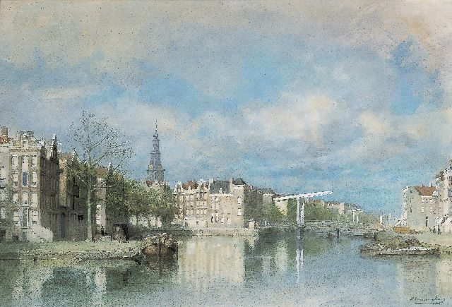 Karel Klinkenberg | View of the Zwanenburgwal, with the Zuiderkerk beyond, watercolour and gouache on paper, 35.0 x 51.0 cm, signed l.r.
