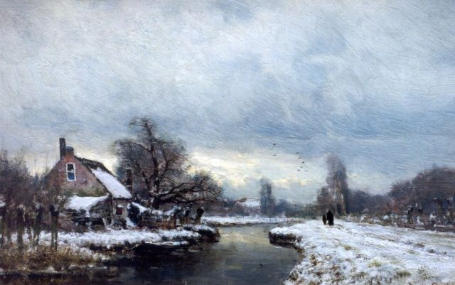 Louis Apol | A winter landscape, oil on panel, 27.5 x 42.0 cm, signed signed l.r.