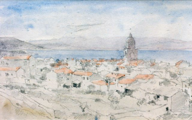 Cornelis Vreedenburgh | St. Tropez, coloured pencil on paper, 12.5 x 20.5 cm