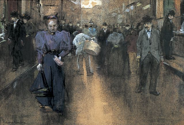 Floris Arntzenius | A view of the 'Spuistraat', The Haque, black chalk, watercolour and gouache on paper, 28.0 x 41.5 cm, signed l.l.