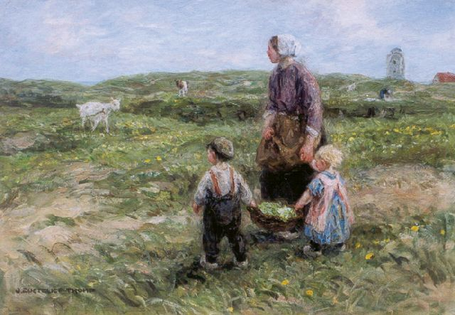Jan Zoetelief Tromp | Feeding the goat, in the distance the 'Vuurbaak' of Katwijk, oil on canvas, 40.6 x 56.6 cm, signed l.l.