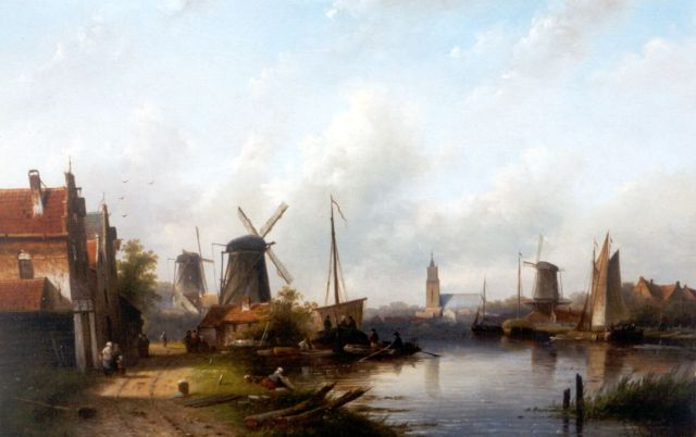 Jacob Jan Coenraad Spohler | Daily activities along a canal, oil on canvas, 43.4 x 67.3 cm, signed l.r.