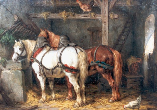 Willem Johan Boogaard | Horses in a stable, oil on panel, 19.8 x 27.0 cm, signed l.r. and dated 1876