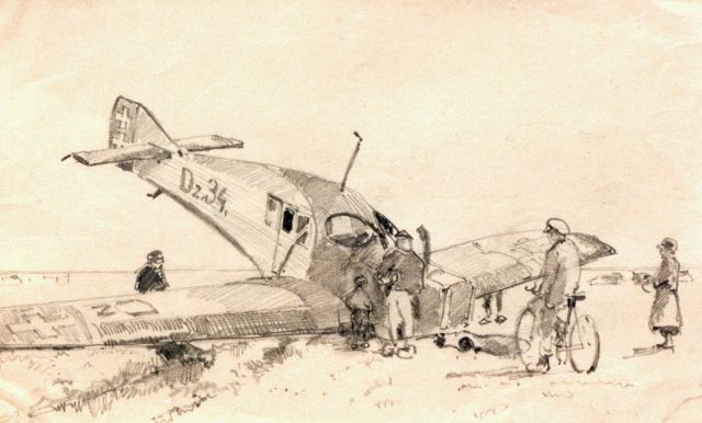 Cornelis Vreedenburgh | Emergency landing, drawing on paper, 13.0 x 21.0 cm, signed l.r. and dated 1923