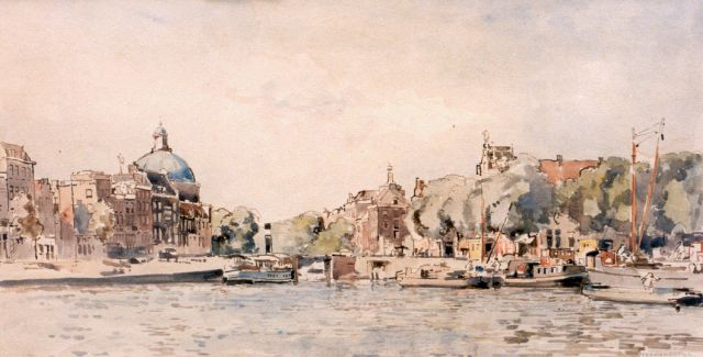 Cornelis Vreedenburgh | Moored boats with the 'Lutherse kerk' in the distance, watercolour on paper, 25.0 x 48.0 cm, signed l.r.