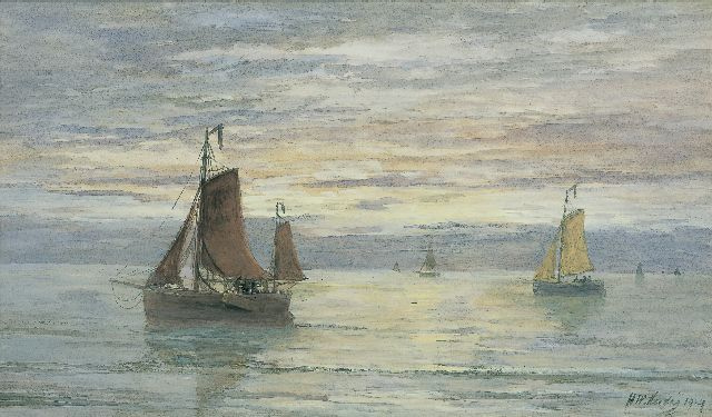 Hendrik Willem Mesdag | Sailing vessels at dusk, watercolour on paper, 39.3 x 66.5 cm, signed l.r. and dated 1904