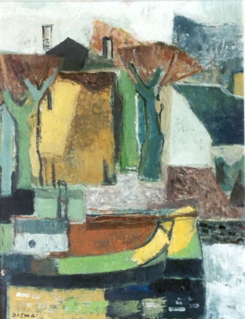 Wim Bosma | Moored boats, 51.2 x 40.3 cm, signed l.l. and painted circa 1952