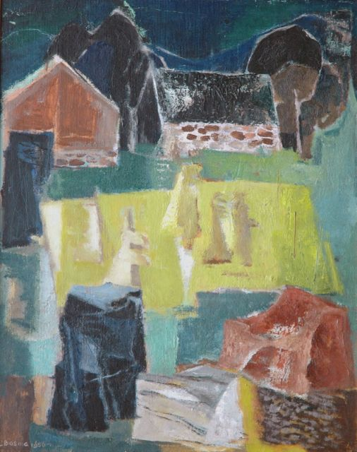 Wim Bosma | Stones, sheafs of corn and a farm, oil on painter's board, 50.0 x 40.0 cm, signed l.l. and painted 1956