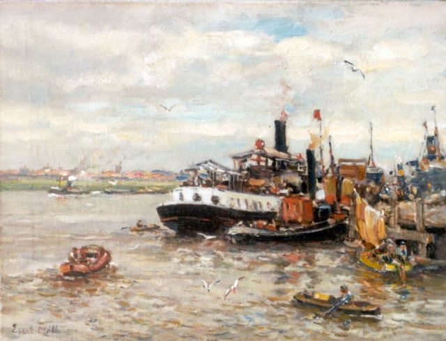 Evert Moll | Passenger's service and towboats at a pier, oil on canvas, 30.5 x 40.5 cm, signed l.l.