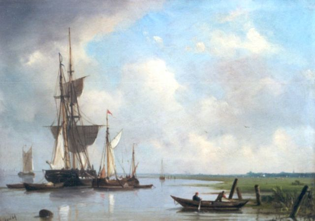 Petrus Paulus Schiedges | The departure of the fleet, oil on panel, 25.2 x 35.1 cm, signed l.l. and dated '69