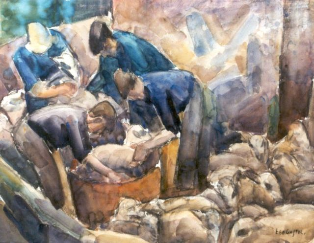 Leo Gestel | Sheepshearers, charcoal and watercolour on paper, 47.4 x 61.5 cm, signed l.r. and painted circa 1926