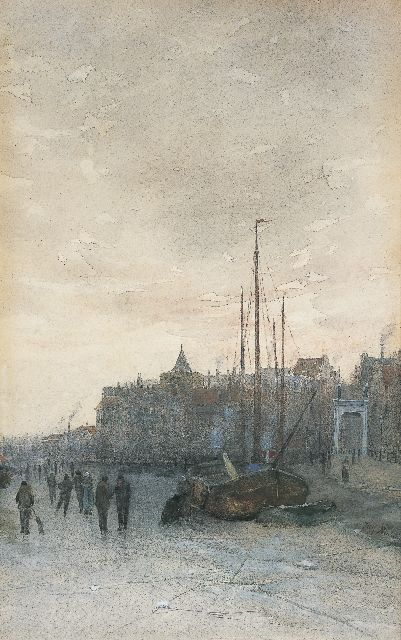 Jozef Neuhuys | Skaters on the river IJssel, Kampen, watercolour on paper, 45.1 x 28.6 cm, signed l.r.