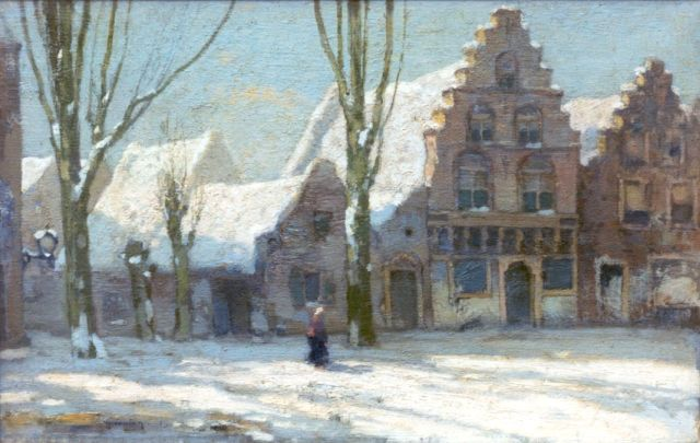 Ype Wenning | A snow-covered town, Franeker, oil on canvas, 23.2 x 35.9 cm, signed l.l. and dated '15