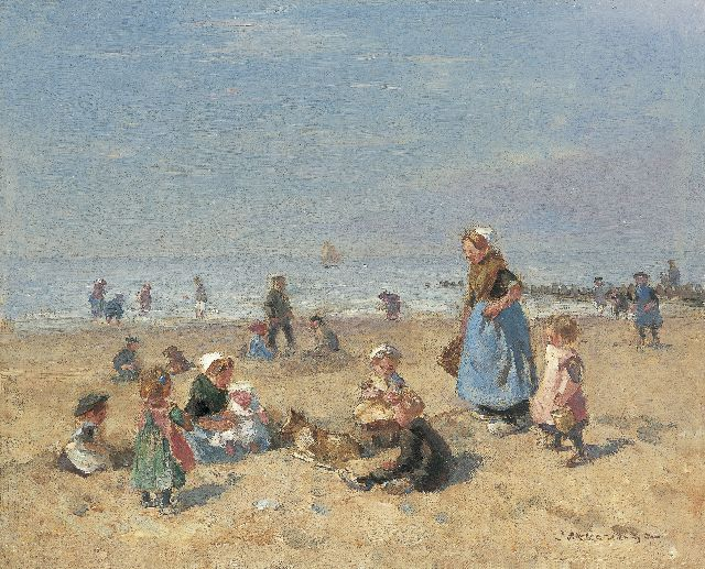 Johannes Evert Hendrik Akkeringa | A sunny day at the beach, oil on canvas, 29.2 x 36.1 cm, signed l.r.