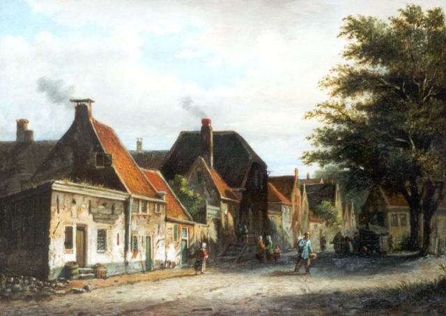 Johannes Jacobus Mittertreiner | Daily activities in a sunlit Dutch town, oil on panel, 28.6 x 40.0 cm