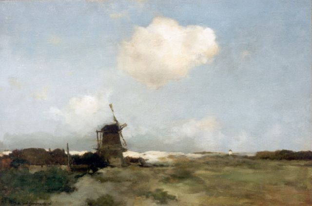 Jan Hendrik Weissenbruch | A dune landscape with a windmill, oil on panel, 42.4 x 62.0 cm, signed l.l. and dated '96