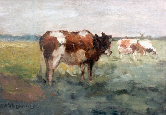 Jan Hendrik Weissenbruch | Cows in a meadow, oil on canvas laid down on panel, 17.0 x 24.0 cm, signed l.l.
