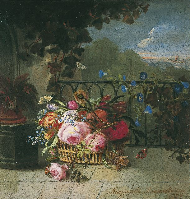 Margaretha Roosenboom | Flowers in a basket, oil on panel, 15.0 x 14.3 cm, signed l.r. and dated 1863