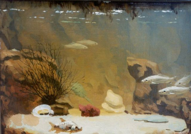 Gerrit Willem Dijsselhof | An aquarium, oil on canvas laid down on painter's board, 26.3 x 34.7 cm, signed l.r. with monogram