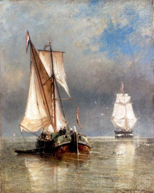 Cornelis Christiaan Dommelshuizen | Shipping on the Zuiderzee, oil on canvas, 39.2 x 31.2 cm, signed l.r.