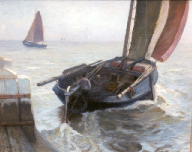 Anthonie Pieter Schotel | A flatboat from Volendam departing, oil on canvas, 80.0 x 100.0 cm, signed l.l.