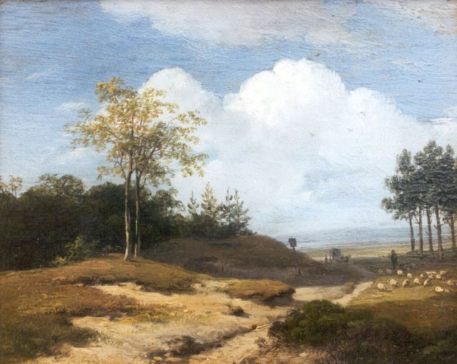 Andreas Schelfhout | A summer landscape with a shepherd and his flock, oil on panel, 12.8 x 16.0 cm, signed l.l.