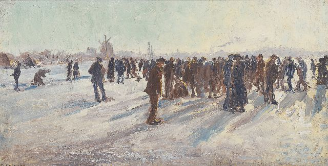 Ko Cossaar | A winter landscape with skaters, oil on canvas laid down on painter's board, 25.0 x 46.8 cm, signed l.l.