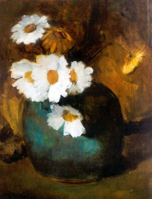 Floris Arntzenius | Daisies in a ginger jar, oil on panel, 29.2 x 22.3 cm, signed l.l.