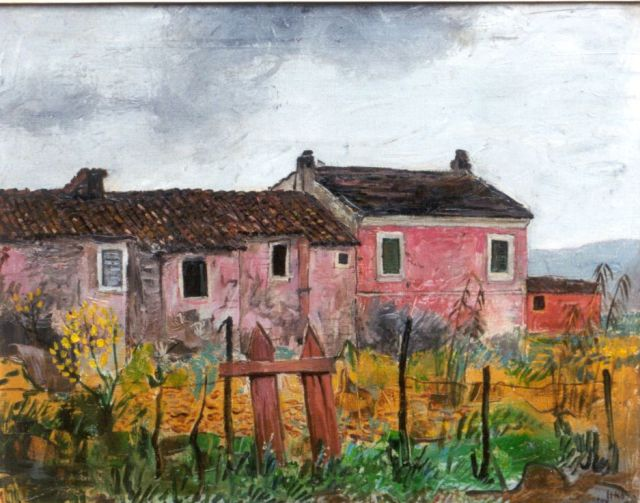 Harm Kamerlingh Onnes | A farm in a landscape, France, oil on canvas, 40.5 x 50.8 cm, signed l.r. with monogram and dated '57