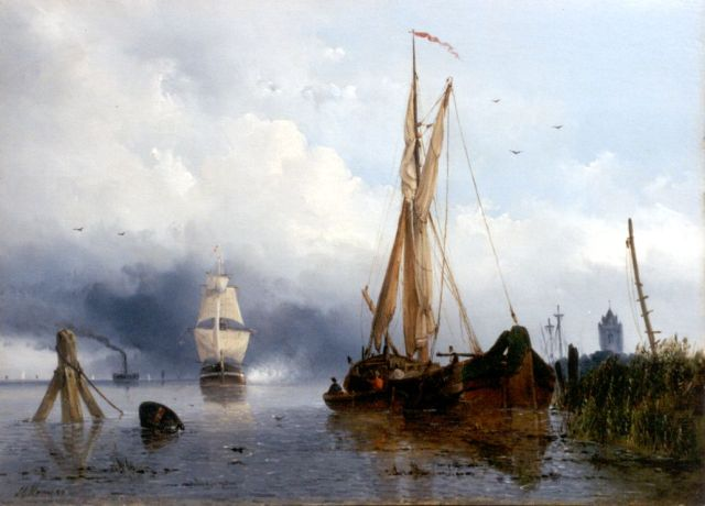 Josephus Gerardus Hans | Sailing vessels by a jetty, oil on panel, 34.2 x 47.4 cm, signed l.l. and dated '50