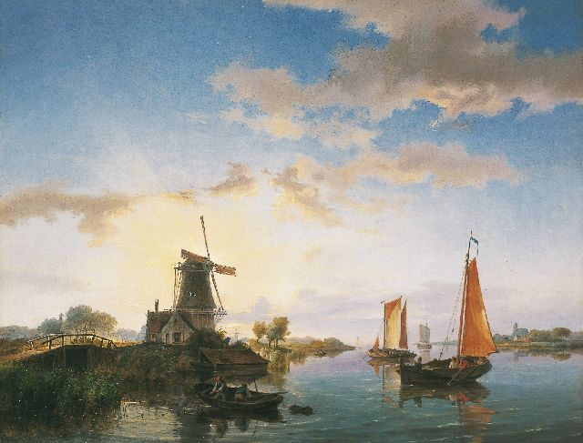 Hermanus Koekkoek | A river landscape at sunset, oil on canvas, 40.5 x 52.3 cm, signed l.l. and on a label on the reverse and dated 1845