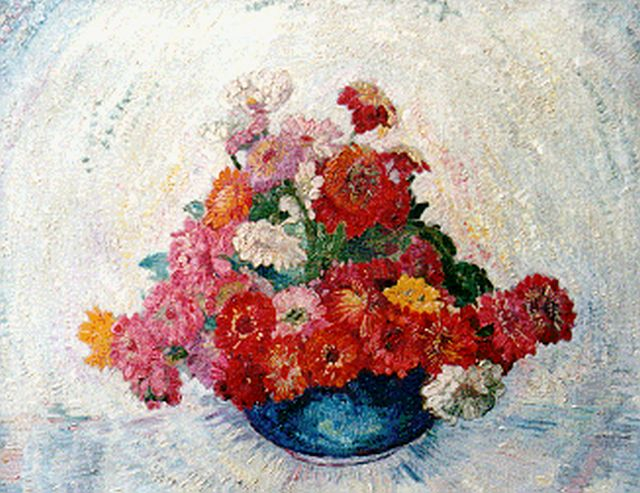 Jacobus Doeser | Zinnias in a vase, oil on canvas, 55.0 x 68.2 cm, signed l.r.