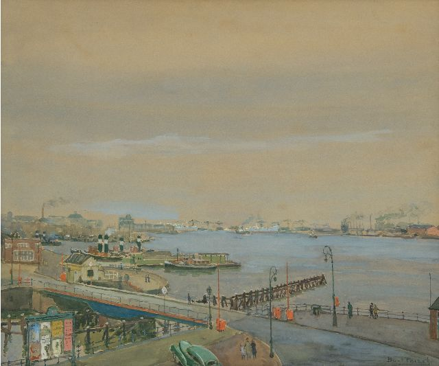 Peizel B.  | A view of the Amsterdam harbor, watercolour on painter's board 49.1 x 58.8 cm, signed l.r.