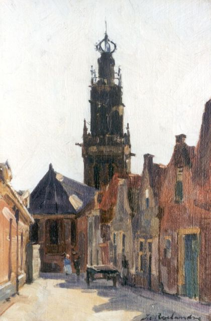 Johannes Cornelis Roelandse | A view of Leiden, oil on canvas laid down on panel, 32.5 x 21.6 cm, signed l.r.