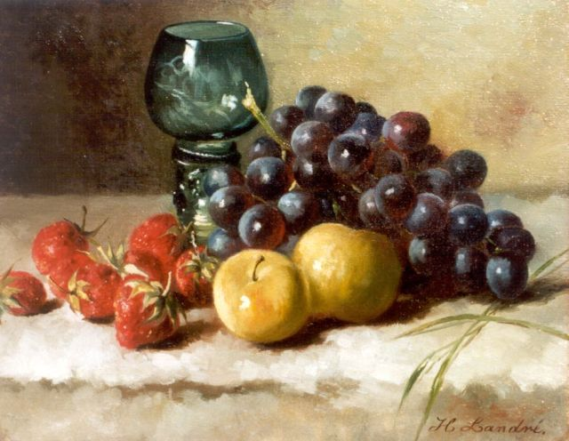 Hendrika Wilhelmina Landré-van der Kellen | A still life with grapes and strawberries, oil on canvas, 25.0 x 31.0 cm, signed l.r.