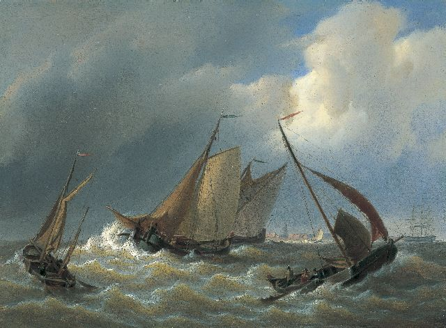 Petrus Johannes Schotel | Shipping on stormy waters, oil on panel, 26.7 x 36.2 cm, signed l.r.