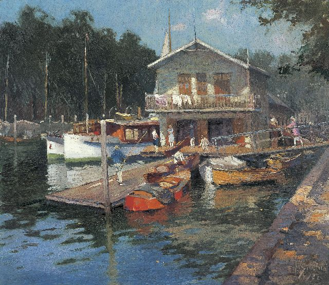 Anthonie Pieter Schotel | The Yachtclub of the KDRZV, Dordrecht, oil on canvas, 59.5 x 68.5 cm, signed l.r. and dated '22