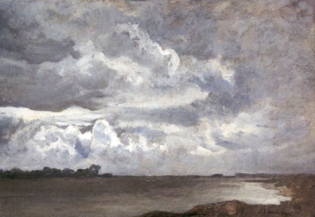 Jan Voerman sr. | A view of the river IJssel near Hattem, oil on canvas laid down on panel, 27.8 x 38.5 cm, signed l.r.