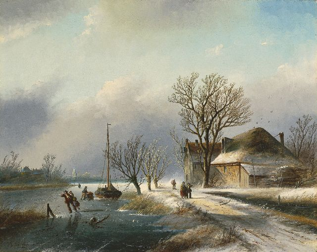 Jacob Jan Coenraad Spohler | A frozen river with skaters, oil on canvas, 59.5 x 74.9 cm, signed l.l. with 'J.J. Spohler' and painted ca. 1865