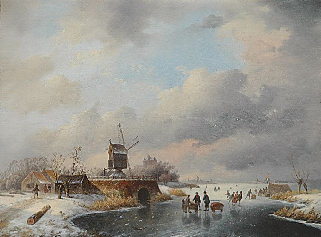 Jan Hendrik Willem Hoedt | Skaters on ice around a 'koek-en-zopie', oil on canvas, 35.9 x 46.7 cm, gesigneerd l.o. met monogram