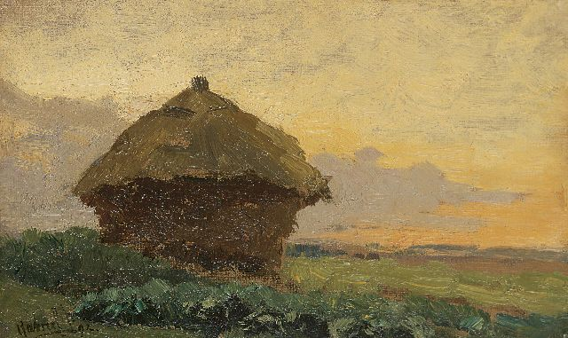 Paul Joseph Constantin Gabriel | Haystack, oil on canvas laid down on panel, 15.4 x 24.6 cm, signed l.l. and dated '92