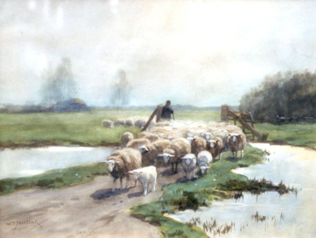 Willem Steelink jr. | A shepherd and flock, watercolour on paper, 30.9 x 40.8 cm, signed l.l.