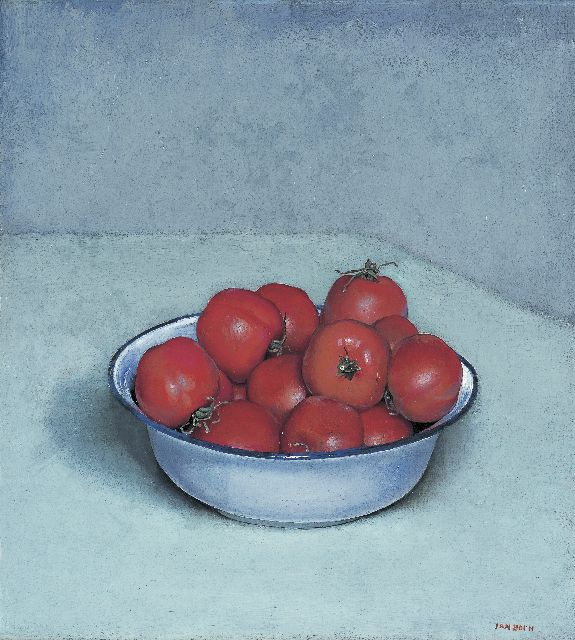 Jan Boon | Tomatoes in a enamel bowl, oil on canvas, 41.1 x 37.3 cm, signed l.r.
