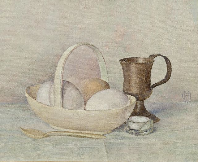 Tjitske Geertruida Maria van Hettinga Tromp | Eggs in a Wedgwood bowl, oil on canvas, 24.8 x 30.4 cm, signed c.r. with monogram and dated 1929