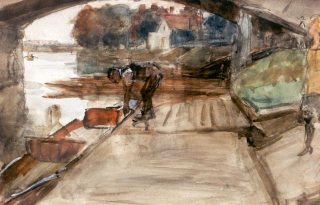 Israels I.L.  | A man by a rowing boat on the river Thames, watercolour on paper, 33.5 x 50.5 cm