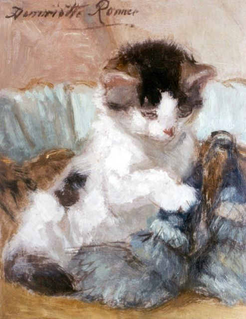 Henriette Ronner-Knip | A kitten playing, oil on paper laid down on panel, 20.2 x 15.9 cm, signed u.l.