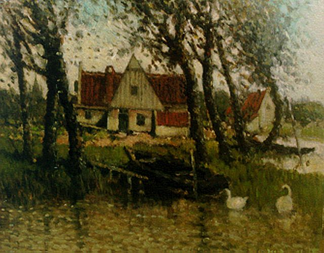 Henri van Daalhoff | A house along a waterway, oil on panel, 19.1 x 24.2 cm, signed l.r.