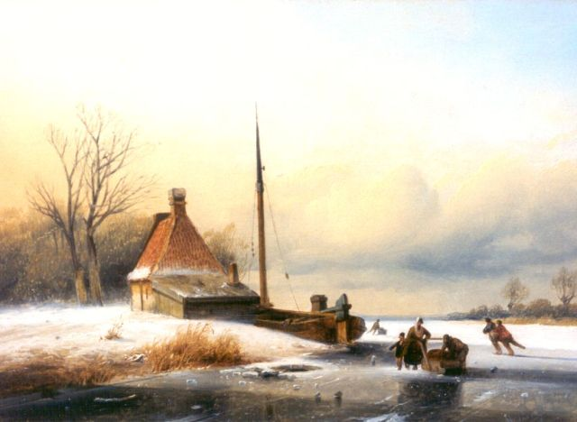 Matthias Parré | A winter landscape with skaters on the ice, oil on panel, 26.3 x 36.2 cm, signed l.r.