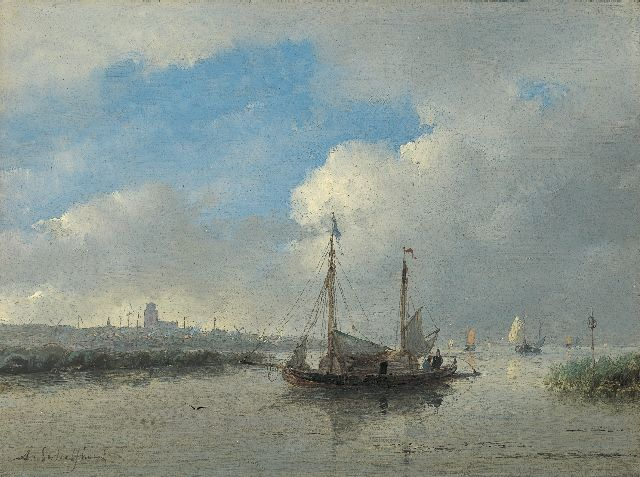 Andreas Schelfhout | Shipping on the river Merwede, Dordrecht, oil on panel, 17.8 x 24.0 cm, signed l.l.