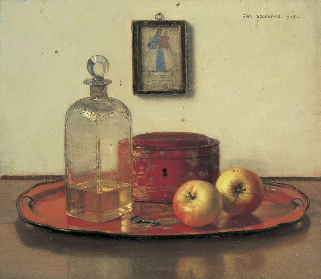 Jan Bogaerts | A still life with apples, oil on canvas, 40.2 x 45.5 cm, signed u.r. and dated 1945